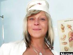 Filthy nurse milf Nada fucks herself with chubby dildo