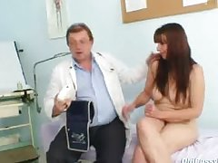 Jelled pussy wife Karin arbitrary gyno clinic exam