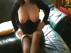 full-grown brunette in stockings sucks bushwa