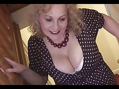 Monumental boobs mature beauteous pamper in pantyhose