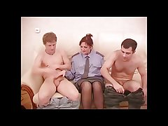 Powered Mature Policewoman Threesome.