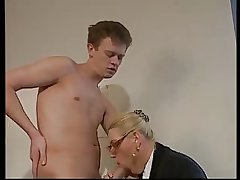 BLONDE Grown up WITH BIG Soul & GLASSES FUCKED Thither THE OFFICE