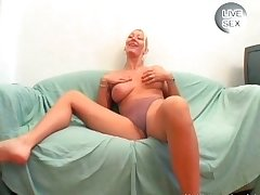 Blonde whore far whacking big boobs sucks cock