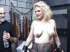 Mature flaxen-haired sub gets spanked shine up to her ass turns red