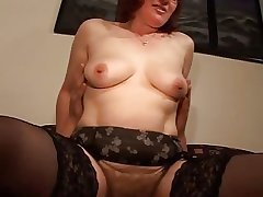 Hairy Mature Redhead in Glasses added to Stockings Fucks