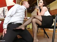 Foot shtick on touching gorgeous brunette Chanel Preston