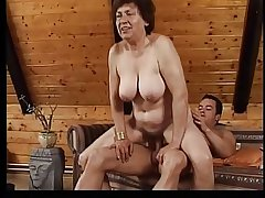 Fat mature laddie gets fucked on a couch