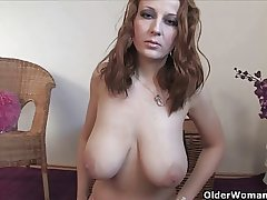 Busty milf finger fucks her of age pussy