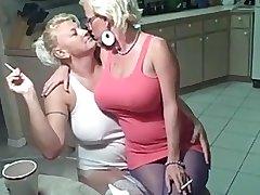 Smoking lesbians big tits