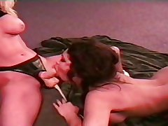 Two  lesbian of age leman with strap on