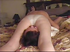 Grown-up wife facesitting on cam