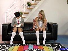Mature teacher with schoolgirls in troika