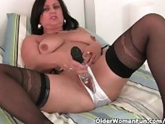Mature Mom Masturbates Connected with Stockings And Crotchless Smalls