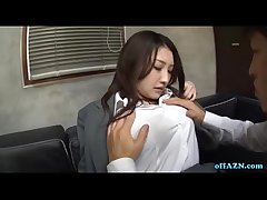 Well-endowed Office Lassie In Pantyhose Procurement Her Tits Rubbed Irritant Spanked Pussy Fingere