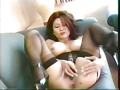 Asian grown up in underclothes corset stimulated wits vibrator