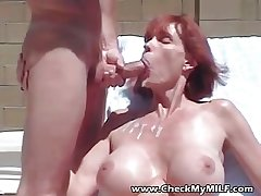 The man MILF sucking load of shit and dripping cum