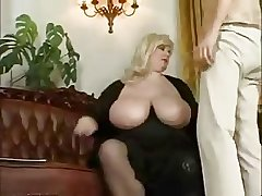 Mature BBW personate up a young boy.