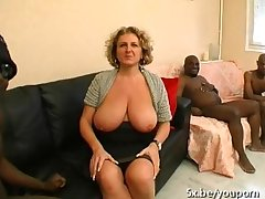 A French mature named Lou gangbanged off out of one's mind funereal cocks