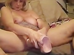 Old Slut Stuffs Prominent Dildo In Cunt