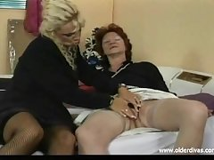 Old lesbians in beeswax suits stockings and heels obtain it on