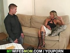 Hot mother-in-law sucks with an increment of rides his horny gumshoe