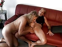 Frying mature couple having fun