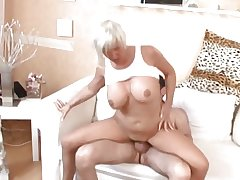 Slutty adult fucked on the couch