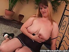 Beamy boobed mom enjoys his leftist plus cock in the brush mature pussy