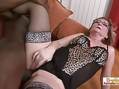 Gilf slut Aja on the verge of fits this huge black gumshoe in her holes