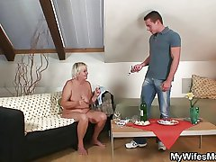 Wife comes in the matter of and sees him fucking her mom