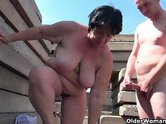 Heavy grandma with rock hard nipples gets fucked outdoors