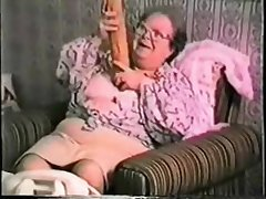 Unmitigatedly elderly granny loves heavy toy. Real amateur