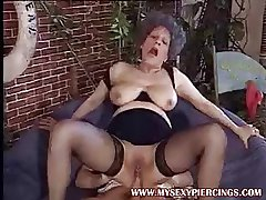 Pierced pussy MILF granny taking cock regarding their way asshole