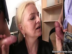 Emaciate granny light-complexioned takes two cocks