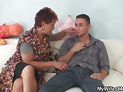 He gets seduced unconnected with his GF's old mommy