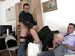 She sucks added to fucks two cocks at job pay attention