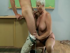 Age-old hot GILF mature teacher sucks student