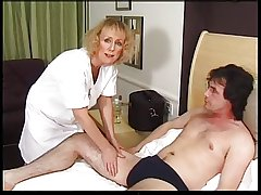 Wizened Blonde Granny Gets Creampie together with Facial