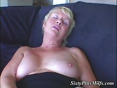 Blonde Milf plus her electric trinket