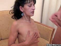 OldNanny Chunky mature with the addition of chubby milf attempt threesome