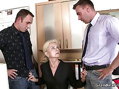 Twosome fellows fuck granny convenient work