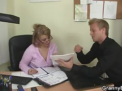 Hot office sex with mature prostitute