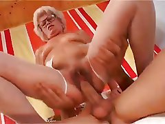 Sexy Short Haired Granny With Flimsy Pussy