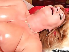 Grandma with big tits pity fucks their way oiled pussy