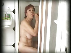 hairy granny finds an individual in her shower