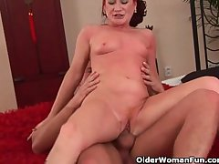 Red-hot hot grandma gets her small tits covered in all directions cum