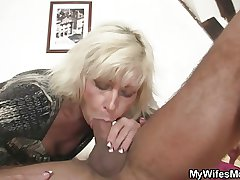 Blonde mother with respect to law seduces me into sex