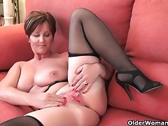 Well-dressed grandma Joy gets fingered and masturbates with dildo up her bore