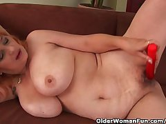 Queasy Grandma With Big Tits Has Solo Dealings With A Vibrator