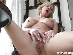 Mature British pornstar Jane Combination simply in the study